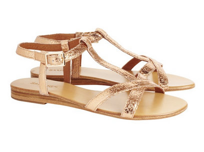 Sambag Mia Rose Gold Cracked Metallic Leather Sandals $175.00 -15% off = $148.75