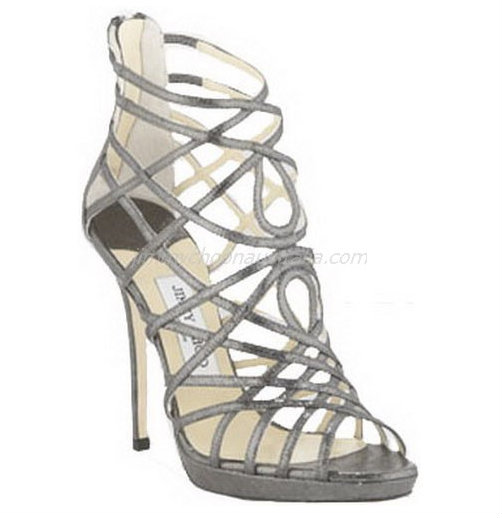 Silver Glitter Leather Sandals by Jimmy Choo. View Online